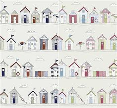 fryetts #beach huts seaside 100% cotton #curtains crafting  #fabric - pink or bl,  View more on the LINK: 	http://www.zeppy.io/product/gb/2/261853658910/
