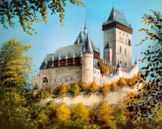 Castle Karlstein by Karl Illini Castle Drawing, Castle Painting, Pretty Pictures, Cool Photos, Pretty Pics, Beautiful Castles, Medieval Castle, 14th Century, Retro
