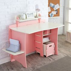 Sweet Modern Computer Desk Design With Lovely Pink Color Combined White Table And Book Shelf Also PC Storage Featuring Oak Side Shelving And Painted Brick Walls For How To Build A Small Desk Ideas Small Kids Desk, Kids Computer Desk, Computer Desk Design, Desks For Small Spaces, Computer Workstation, Kids Study Table Ideas, Small Computer, Desk For Girls Room, Girl Desk