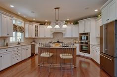 Traditional Kitchen with Kitchen island, Feiss Tuscan Villa 3 Light Kitchen Island Pendant, Pendant light, Undermount sink