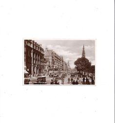 1930s Vintage Black & White Photo Postcard of Princes Street, Edinburgh, Scotland, UNposted, Vintage Postcard, Ephemera Postcard by VictorianWardrobe on Etsy