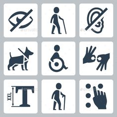 Disabled Releated Vector Icons Set (JPG Image, Vector EPS, CS, 4167x4167, access, accessibility, accessible, aid, assistance, assistive listening, blindness, deafness, disability, disabled, dog, facility, hearing, help, icon, impaired, isolated, medical, person, pictogram, public, service, sight, sign, silhouette, stick, symbol, vector, walking, wheelchair)