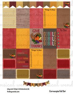 Www.etsy.com/shop/whimsicalwende  Printable Planner Stickers Kit Thanksgiving Cornucopia- Instant Digital Download- Give Thanks