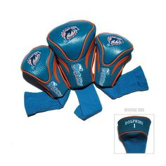 Miami Dolphins 3 Pack Contour Fit Headcover #MiamiDolphins