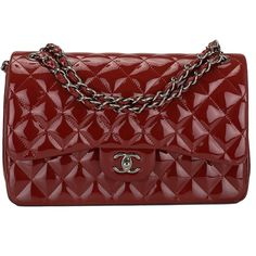 Pre-Owned Chanel Dark Red Quilted Patent Jumbo Classic Double Flap Bag ($6,200) ❤ liked on Polyvore featuring bags, handbags, purses, red, handbags purses, quilted hand bags, quilted purses, red handbags and chanel handbags