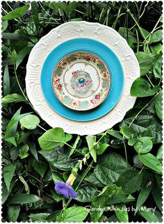 Turquoise Floral Plate Flower Garden Stake by GardenWhimsiesByMary, $40.00