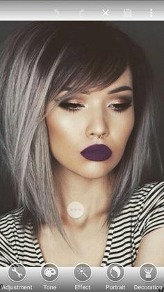 25 Silver Hair Color Looks that are Absolutely Gorgeous – Balayage Haare Medium Hair Styles, Short Hair Styles, Bob With Side Fringe, Medium Length Hair With Layers And Side Bangs, Medium Choppy Bob, A Line Bob With Bangs, Long Bob With Bangs, Straight Fringes, Colorful Hair