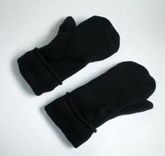 Recycled Cotton Mittens-Dark Blue-Lined by allwrappedupandmore