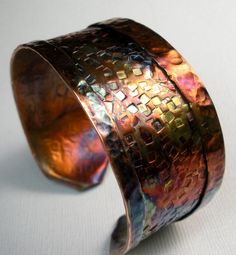 Copper Cuff Bracelet,  Handmade Rustic Fold Formed and Hammered Copper Cuff-  Mosaic Color Blocks. $159.00, via Etsy.