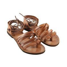 Sandalo lacci cognac da donna