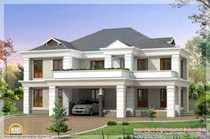 2850 square feet Indian home design Home Design Images, House Design Photos, Small House Design, Dream Home Design, New Home Designs, Modern House Design, Modern Houses, Lake House Plans, Bungalow House Plans
