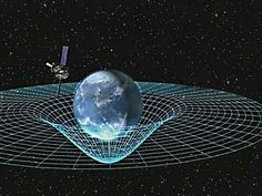An artist's concept of Gravity Probe B orbiting the Earth to measure space-time curvature.