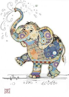 Eddie Elephant bug art greeting card Embossed with gold foil. Applique Patterns, Applique Quilts, Quilt Patterns, Quilting Ideas, Elephant Quilts Pattern, Art Quilting, Patchwork Quilting, Pintura Graffiti, Motifs D'appliques