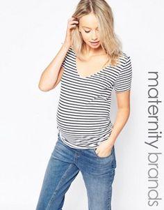 New Look Maternity Stripe V Neck Tee