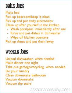 Teenager Chore Chart