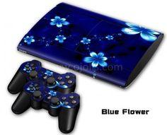 Skin autocollant PS3 Slim 4000 - Blue Flower