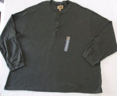 The Foundry Supply Men T Shirt  4XL Green Henley Solid Thermal  Cotton  1600K #TheFoundry #Henley