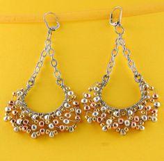 Large Hoop n Chain Earrings by BeadafulDesignsbyDL on Etsy, $24.00