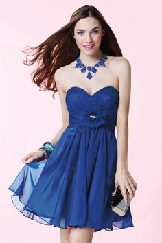 Simple Sweetheart Mini Royal Blue Chiffon A Line Cocktail Homecoming Dress Cac0090