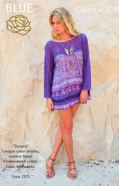 VENICE BEACH cotton and lace tunic Blue Hippy Summer 2015 Collection #boho #gypset #hippy #blue #southoffrance #handprinting #bohemian #vintage #bohochic #bohostyle #boholiving #bohemianstyle #gypsy #hippie #travel #beach #french #france #wanderlust