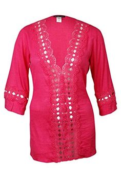 96008be0a7d La Blanca Womens Solid Intuition Tunic Cover Up Dragon Fruit Medium   Check  out this great