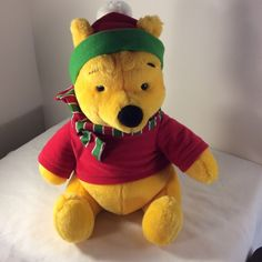 "Disney Mattel Winnie the Pooh BEAR Plush Stuffed Animal 12"" Red Shirt Scarf Hat #DisneybyMattel"