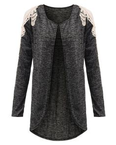 Long Sleeve Open Cape Patchwork Cardigan - Gchoic.com