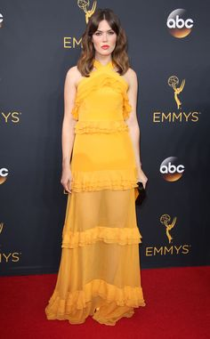 Mandy Moore 2016 Emmys... Cute, for that bridal look try different bridal fabric combinations with 'simple' embellishments.