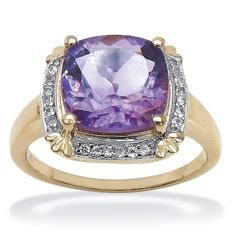 3.62 CT TW Amethyst and White Topaz Ring in Tutone 14k Rose Gold over Sterling Silver
