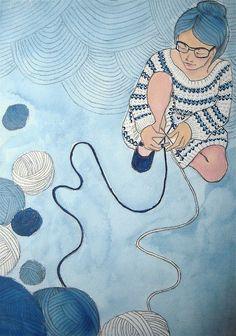"Knitter, watercolor, marker, & graphite on watercolor paper, 10 x 14"", 2011.  Sarah Ryan"