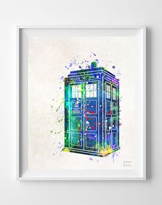 Tardis Print Wall Art Watercolor Dr Who Doctor Who by InkistPrints