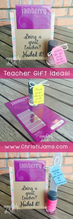 Teacher Appreciation Gift Idea: Cute gift tag ideas for nail polish or Jamberry nail wraps.