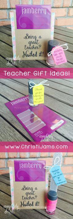 Teacher Appreciation Gift Idea: Cute gift tag ideas for nail polish or Jamberry nail wraps.