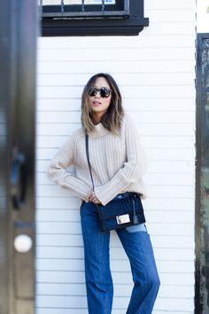 patchwork wide leg denim + chunky knit sweater