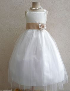 IVORY CHAMPAGNE BRIDESMAID PAGEANT BIRTHDAY WEDDING GOWN FLOWER GIRL DRESS