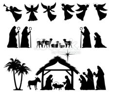 free printable silhouette of nativity scene Christmas Nativity, Noel Christmas, Christmas Projects, All Things Christmas, Winter Christmas, Holiday Crafts, Christmas Ornaments, Felt Ornaments, Silhouette Nativité