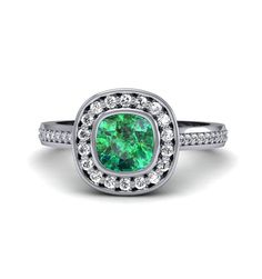 Emerald Engagement Ring Bezel Set Cushion with Diamond Halo 14K or 18K Gold Custom Emerald Ring Bridal Jewelry on Etsy, $1,663.79 CAD