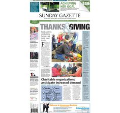 The front page of the Taunton Daily Gazette for Sunday, Nov. 23, 2014.