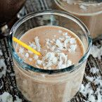 Rise and Shine Skinny Coffee Smoothie Recipe (vegan, dairy-free)  2 bananas 1/2 Cup coffee, cold or room temperature 1/4 Cup coconut milk 2-3 Tablespoons coconut flakes (optional/if you like it sweeter) handful of ice