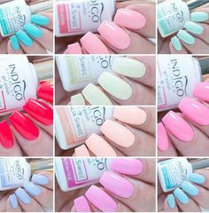 "My Summer melon, Sugarmama, Call me Unicorn, Miss America, Florida dreams, See u later alligator, Is It Pamela, Don't worry beach happy, Chiquita banana, Blonde hair don't care ""Miami collection 2017"" Nail Colors, Colours, Indigo Nails, Vernis Semi Permanent, Indigo Colour, Don't Worry, Gel Polish, Don't Care, Blonde Hair"