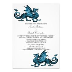 """Perfect for an elegant fantasy tabletop game themed wedding is this nerdy and unique Dragon Wedding Invitation featuring a vibrantly colored royal blue dragon. Easy to customize, simply add your wedding details in the text fields provided. Click """"Customize It"""" to find more personalization options."""