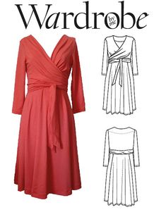 Wrap dress PDF sewing pattern, suitable for jersey. Wardrobe by me, Wanda Wrap dress sewing pattern ready for instant download.