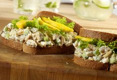 You'll never find a chicken salad sandwich this good in a deli...the chicken is flavored withcrunchy almonds, jicama, and tarragon, andserved on whole grain bread with sliced mango. Now that's a sandwich!
