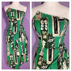 Vintage Rare Green Surfriders Sportswear Dress with Peaked Bust - Hawaiian Label with Asian Motif - by HiFi Vintage 1940s Fashion, 50 Fashion, Vintage Fashion, Womens Fashion, Hawaiian Wear, Vintage Hawaiian, Vintage Outfits, Vintage Clothing, Tiki Dress