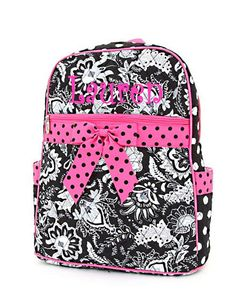 Personalized Girls Backpack Floral Black & by MauriceMonograms, $33.00
