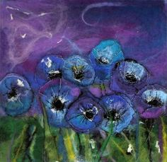 Greeting Card Blue Poppies Card from Original Wet Felted Art - Purple Felt Art Picture Card Fabric Cards, Fabric Postcards, Cloth Flowers, Felt Flowers, Wet Felting, Needle Felting, Felt Wall Hanging, Embroidery Works, Embroidery Ideas