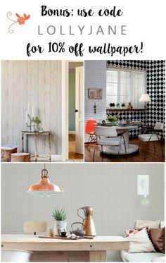 Walls Republic wallpaper promo code. Click through for a fun faux wood wallpaper from Walls Republic, a fast alternative to shiplap or planked walls. Looks so good in this farmhouse dining room! Come see the full before/after room reveal!