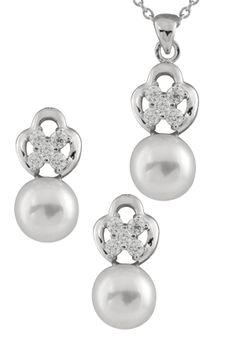 White 7-9mm Freshwater Pearl & CZ Fancy Necklace & Earrings Set