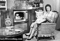 TV brought girl wrestling into homes in 1947.