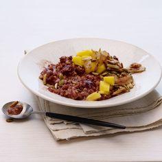 Red Rice & Barley Congee with Mango & Coconut Asian Rice, Rice Porridge, Pearl Barley, Pomegranate Molasses, Recipe Instructions, Sweet Tarts, Food Trends, Toasted Coconut, Mango